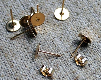 10pcs 5 Pairs 10mm Earring  Finding 14Kt Gold Filled Earpost Earstud Flat Pad