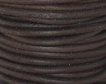 3mm Leather Cord - Antique Brown - 1 Meter Premium Quality Round Cording