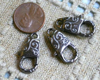 6pcs Clasp Lobster Claw Gunmetal Finished Pewter 24x12mm Swirl Design