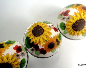 SUNFLOWERS on White  Cabinet Knobs/Pulls  SET OF 8 ..High Domed Artisan