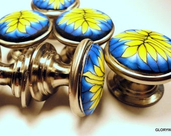 8 yellow blue unique fun handmade Dresser Cabinet Knobs/ Pulls  metal base