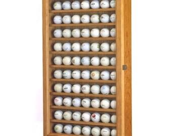 Premium Golf Ball Display Case Wall Cabinet Rack-Real Hardwood