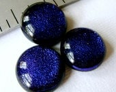Dichroic Fused Glass Cabochons 17 mm Purple Beauties Set of 3