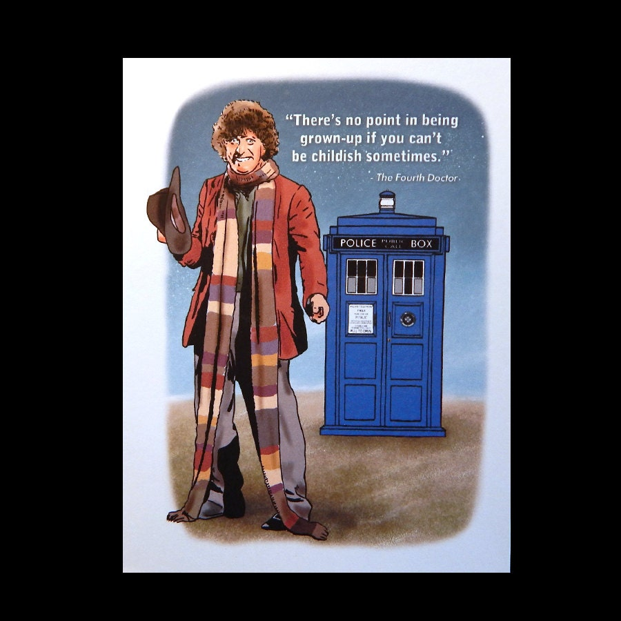 Doctor Who Birthday Card with Tardis and Fourth Doctor – Doctor Who Birthday Card