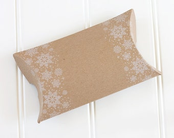 Letterpress Snowflake Pillow Boxes, Christmas Letterpress Gift Boxes, Holiday Wrapping Supplies, Letterpress Kraft Candy Box -  Set of 10