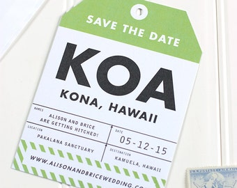 Luggage Tag Save the Date -  Destination Wedding Save the Date - Flat Printed - SAMPLE