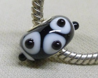 Handmade Lampwork European Charm Bead Black with White and Black Raised Dots Silver Cored