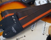 Brown & Orange Racing Stripe Guitar Strap - Vegan - Plenty of other colors to choose from
