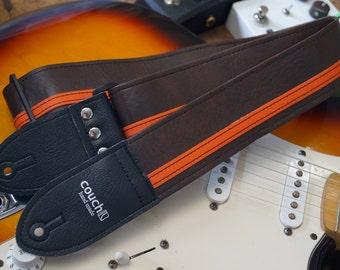 Brown & Orange Racing Stripe Guitar Strap - Vegan - Plenty of other colors to choose from
