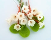 Miniature Polymer Clay Flowers Supplies Yucca with Leaves, 1 set