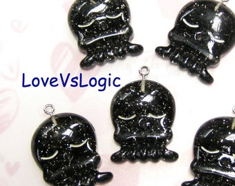 4 Glitter Baby Octopus Lucite Charms. Glitter Black Tone