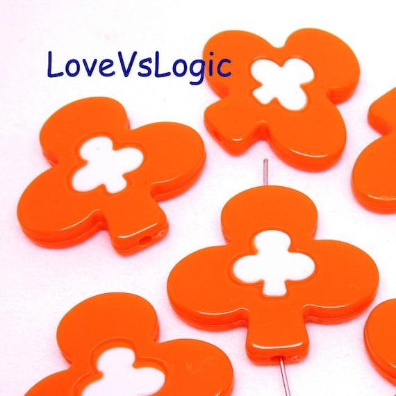 6 Huge Clubs Acrylic Beads. 2 Tones. Dark Orange. 32mm.
