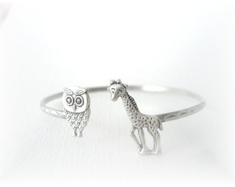 Giraffe bracelet wrap style with an owl, animal bracelet, charm bracelet, bangle