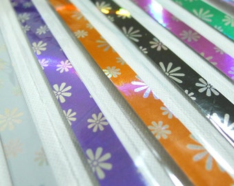 Rainbow Shower Diamond Sparkle (Lovely Daisy) Origami Lucky Star Folding Paper - flat pack of 50-60 strips