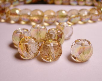 Crystal faceted rondelle barrel  - 6  pcs - 11mm by 8.5mm - AA quality - Ab finish - sparkle topaz - AAABC1