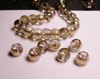 Crystal faceted rondelle barrel  - 6  pcs - 11mm by 8.5mm - AA quality - Ab finish - topaz - AAABC4