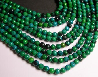 Chrysocolla - 6mm round beads -1 full strand - 65 beads - reconstituted - RFG338