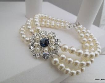 Ivory Swarovski Pearl Bridal bracelet wedding rhinestone bracelet pearl bridal bracelet blue Swarovski crystals something blue COLLEEN