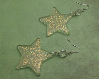 Glitter Star Earrings, Large Clear Transparent Translucent Dangled Plastic Acrylic