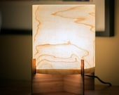 ON SALE - Real Wood Table Lamp - Modern design in Maple Veneer & Bamboo Base - Accent or Mood Lighting Lampshade