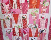Modern Quilt, Basket Quilt, Flower Basket Quilt, Lap Quilt by Dreamy Vintage Sheets