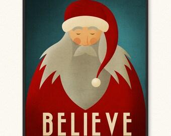 16x20 • Santa Believe • Minimalist Christmas Poster • Art Print • Santa Claus