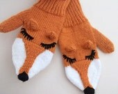 Knit  Fox Mittens Gloves- Hand Knit Fox Mittens-Adult Size- Made to order