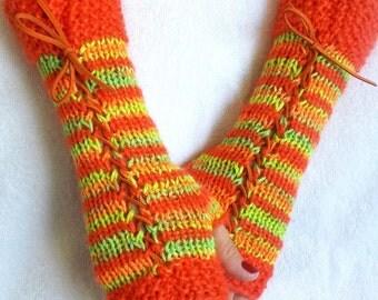Fingerless Corset Gloves Arm Warmers in Orange Green Tones
