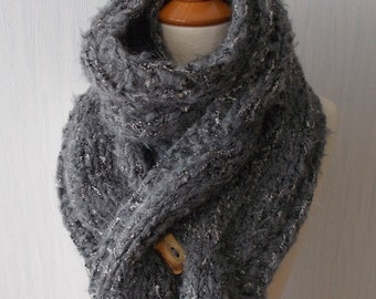 Handknit Chunky Scarf Thick and Warm Cabled in Dark Grey Tweed Alpaca Wool