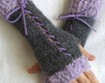 Knit Fingerless Corset Gloves Women Wrist  Warmers in Dark Grey and Lilac Light Violet