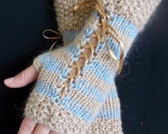 Knit Fingerless Gloves  Corset  Wrist Warmers in Light Brown  Blue  Wool Kid Mohair  with Satin Ribbons Victorian Style