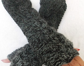 Knit Fingerless Gloves Grey Shades Cabled Warm Arm Warmers Extra Long in Angora and Wool