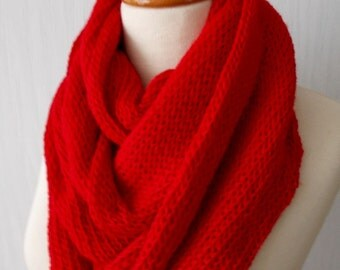 Chunky Scarf Infinity Circle Scarf In red Long Warm Soft Merino Kid Mohair SALE
