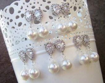 Pearl earring set, stud earrings, set of 5 pairs for bridesmaids - Persephone