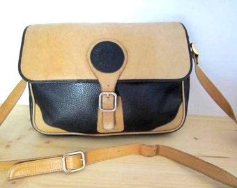 French Vtg black and natural leather messenger/ satchel bag