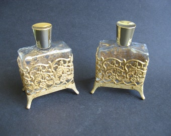 Ornate Footed Dresser/Vanity Perfume Bottles