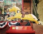 nursery kids decor colorful vintage retro horse western cowboy texas rustic yellow red - Yellow Ride - Fine Art Photography Print