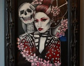 Skeleton Geisha Original Oil  14x19 Painting Japanese Ghost Cherry Blossoms Gothic Art Wall art Lowbrow Skeleton