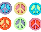 Peace Sign Buttons Sewing Crafts Novelty 60's Hippie Jesse James Sew Fun