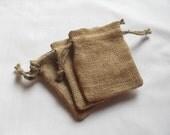 "50 Burlap bags 3"" X 4"" for candles handmade soap wedding favor bags"