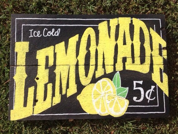 Ice Cold Lemonade Sign by FancifulShenanigans on Etsy