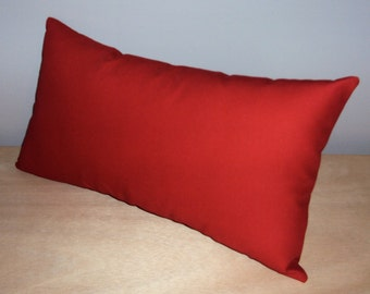 Solid Red Cotton Decorative Lumbar Pillow Cover - 3 Sizes Available