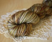 Hand Dyed Yarn /  DK Weight / Pecan Oak Mocha Brown / Superwash Merino Wool