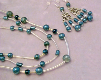 Teal and Silver 2 Pc Jewelry Set 1305