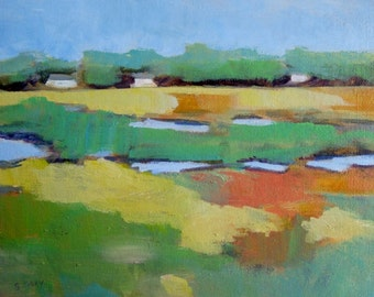 Original Plein Air Marsh Landscape Painting