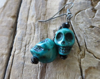 Blue Green Howlite Turquoise Skulls Earrings