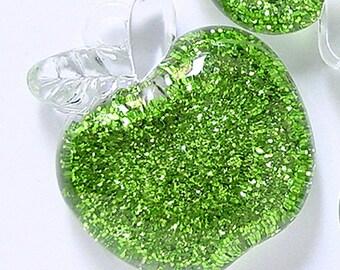 1pc of HUGE Glitter Green Apple Lucite Pendant