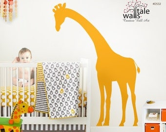 Large Peeking Giraffe wall decal for nursery,children bedroom, Kids Bedroom. Removable Vinyl Wall Art - d532