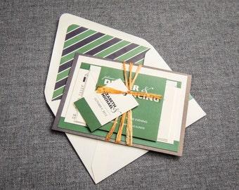 "Green Wedding Invitations, Modern Wedding Invitations, Rustic Wedding Invitations, Emerald - ""Bold Striped"" Flat Panel, 1 Layer, v1 - SAMPLE"