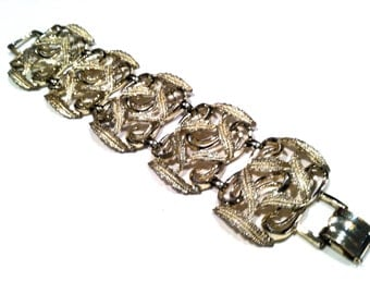 ART Nouveau Wide Chunky Panel Nature Leave Swirls Link Bracelet Runway Vintage Jewelry artedellamoda